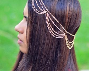 THE MIMI Gold Draped Multiple Hair Chain Jewelry Barrette Sexy Head Accessory Boho Kardashian Head Piece Prom Festival Valentines Coachella