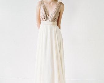 Eden // Rose Gold Sequinned, Backless Wedding Dress