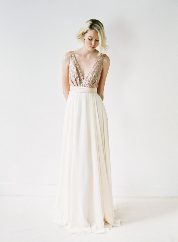 Eden // Rose Gold Sequinned Backless Wedding Dress