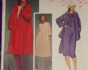 1970s 70s Vintage GEOFFREY BEENE Dress n Flared Coat Hip or Below Knee Length COMPLETE Vogue Designer Pattern 1492 Bust 34 Inch 87 Metric