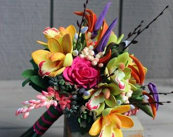 Cymbidium Orchids Tropical Bouquet, Colorful Bouquet, Birds of Paradise, Destination Wedding Bouquet