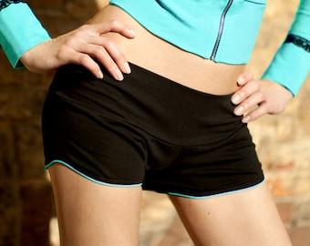Black shorts Dance shorts Low hips short Cotton shorts Bikram yoga Yoga shorts Sport shorts / Tokka