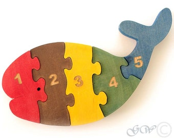 Wooden Puzzle Whale, Wooden toys. Wooden Animal Puzzle, Numbered Whale Puzzle M216