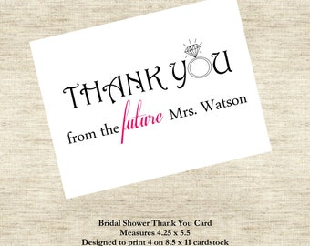 Bridal Shower Thank You Card - From the Future Mrs.