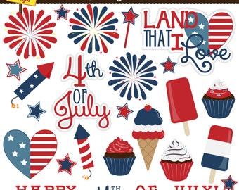 Fourth of July Clipart - Patriotic Clip Art - Cute Digital Clipart Set - Personal and Commercial Use - Card Design, Scrapbooking, Web Design