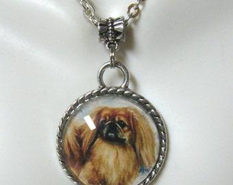 Pekinese pendant with chain - DAP05-074