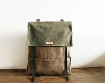 Army Green ,Brown Personality Leather Canvas Backpack,16 ounces Canvas Backpack ,Travel Bag,School Bag