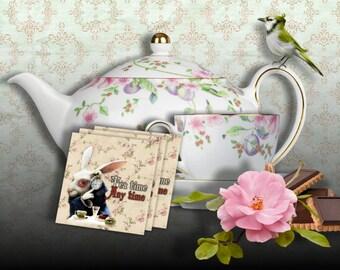 Alice in WONDERLAND Tea party - Printable Tea Bag Holder Envelopes Instant Download Digital Collage Sheet