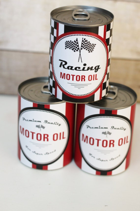 Motor Oil Can Wrappers Party Decoration Vintage Race Car
