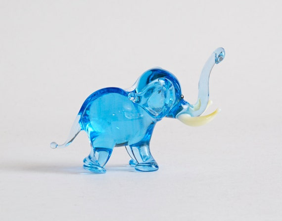 Glass Elephant Figurine Art Glass Sculpture Glass Figurine