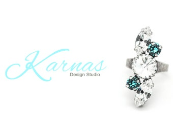GLITZ AND GLAM Crystal Mixed Stone Ring Made With Swarovski Elements *Antique Silver *Karnas Design Studio *Free Shipping*