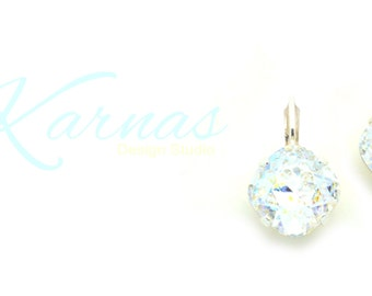 WHITE PATINA 12mm Crystal Cushion Cut Drop Earrings Made With Swarovski Elements *Pick Your Setting *Karnas Design Studio *Free Shipping*