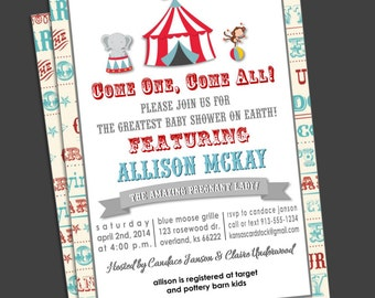 Circus Baby Shower Invitation, Carnival Baby Shower Invitation, Carousel Red Blue Gray