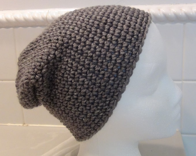Crocheted Hat - Gray Slouch hat