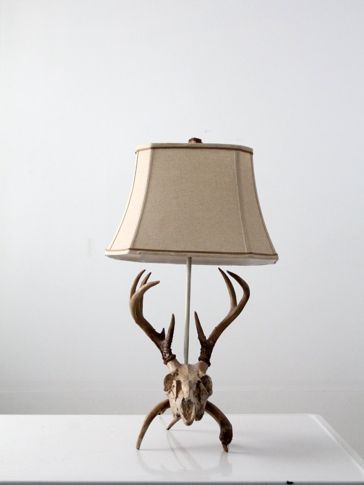 Vintage Deer Skull Lamp Antler Table Lamp