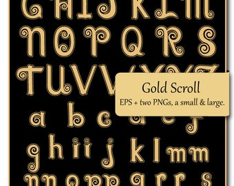 Instant download: Gold Scroll Vector Alphabet . AI., EPS & PNG files, fully editable,digital download.