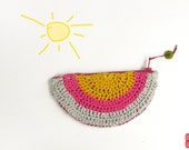 Pink Coin Purse, Crochet Pochette, Semiround Zipper Pouch, Travel Wallet, Yellow Grey Wristlet, Cotton Purse, Double Sided