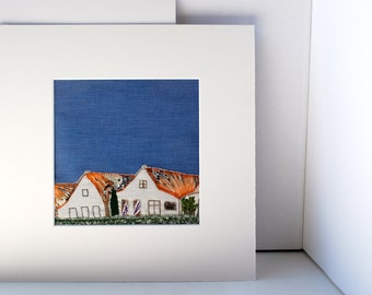Two Houses - Handmade Textile Art - Embroidery Landscape Art - Fiber Art - Hand Embroidery - Abstract Fabric Art