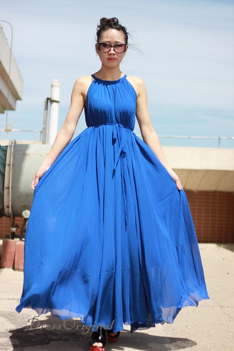 Royal Blue maxi dress chiffon dress long dress Plus Size