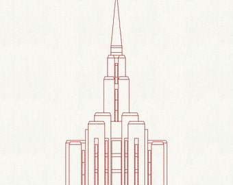 Oquirrh Mt. Utah LDS Temple, Redwork Embroidery Design, digital instant download file.