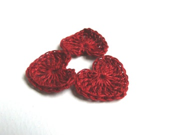 Crochet burgundy red hearts applique, small wedding favor, 15 mini hearts, embellishments, Valentines, scrapbooking, wedding decorations