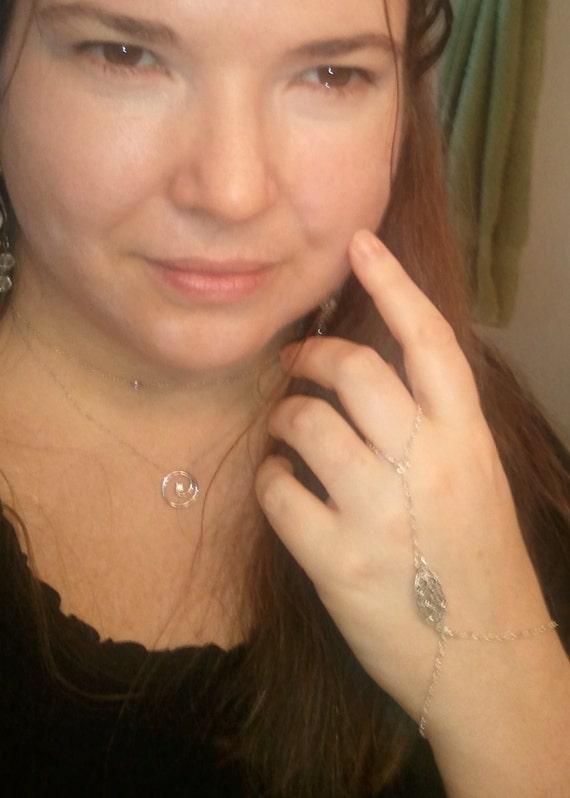 Sterling Silver Hand Chain Bracelet w/ Ring, Hath Panja, Slave Bracelet, Panjas Bracelet, Belly Dancer Bracelet, Harem Bracelet, Hand Flower