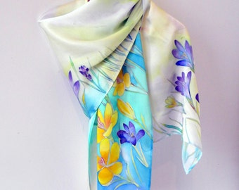 Silk handpainted scarf Painted silk Batik Silk shawl Flowers shawl Bridesmaids gift Women fashion scarf Wedding gift Birthday gift f her