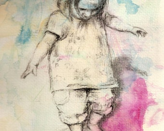 Custom Child Portrait 9x12 charcoal drawing on watercolor wash original home decor nursery art pink green and blue