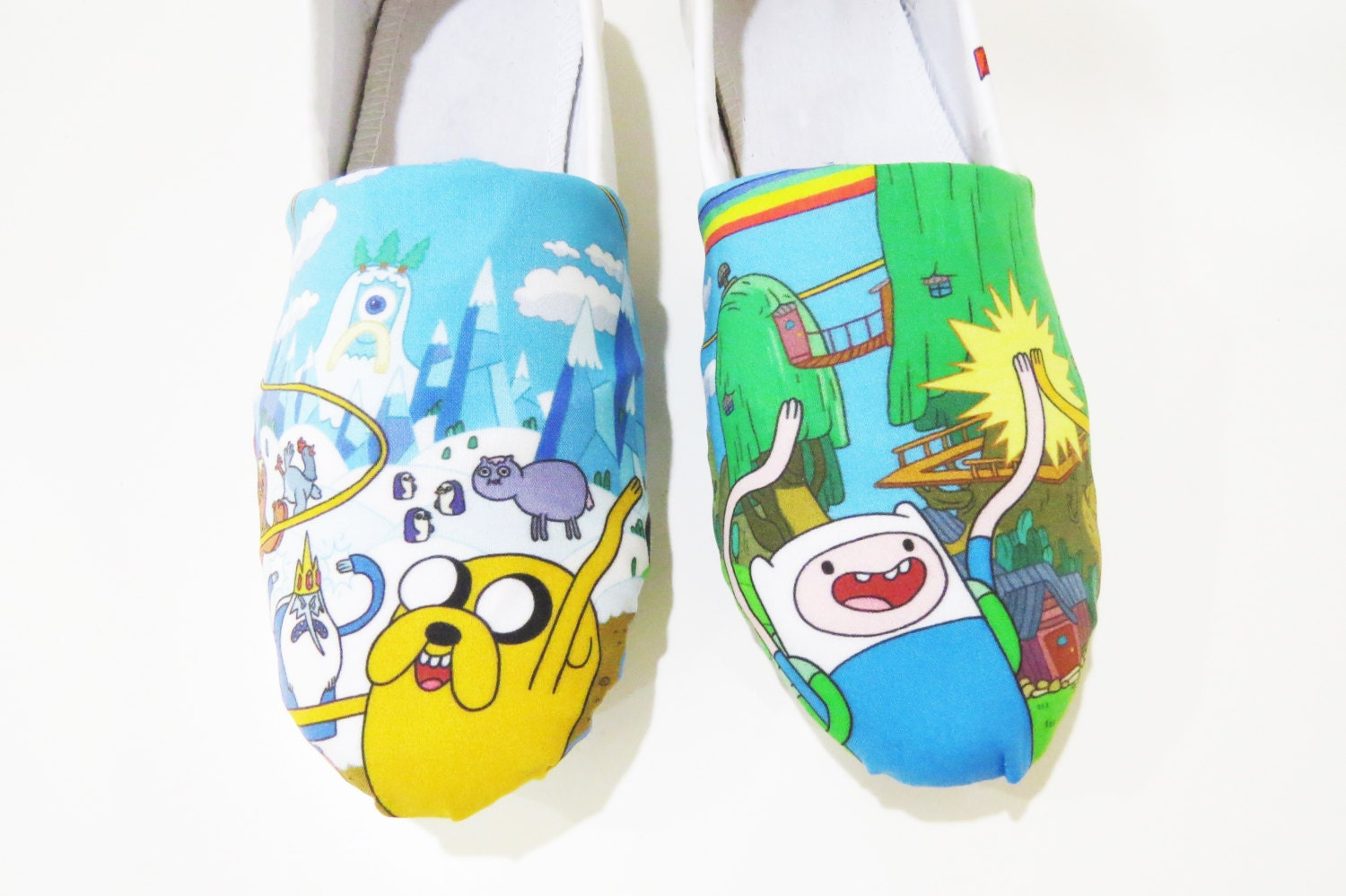 adventure time shoes toms slip on flats finn jake by