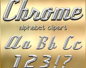 Chrome Alphabet Clipart, Printable Silver Chrome Metal Letters and Numbers + Punctuation , Retro Diner Silver Metal  Letters