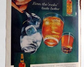 1959 Old Taylor Bourbon Whiskey Ad - (Even the Rocks Taste Better) - vintage magazine ad framable