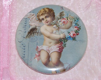 Parisian Cherub pocket mirror, a Marie Antoinette inspired WickedlyLovely Art pocket mirror