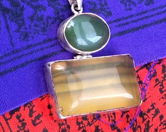 Fluorite & Jade Pendant. Sterling Silver, Hinged,Green, Gold. free US ship 45.00