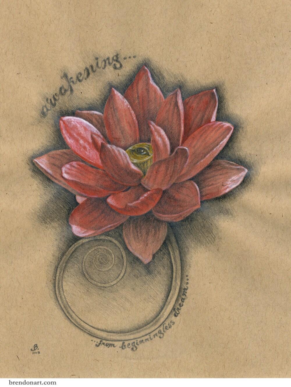 Réveil yeux Lotus : Fleur de lotus Original dessin par ...