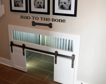Pet Wall Decal -Bad To The Bone- Home Decor Dog and Puppy Wall Art Vinyl Lettering