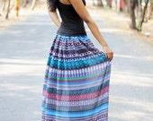 Blue Aztec Skirt/Chiffon Maxi Skirt/Boho Skirt Maxi/Circle Skirt/Long Skirt Maxi/Tulle Skirt Women/Bohemian Skirt Maxi/Chiffon Skirt Maxi