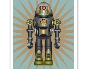 BLACK EAGLE   Retro Robot Print - Personalized name poster art print