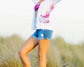 Ego Girl Outfitter Women Slub Zip Up Hoodie (White), Featuring a Pink Kingfish Wahoo Fish