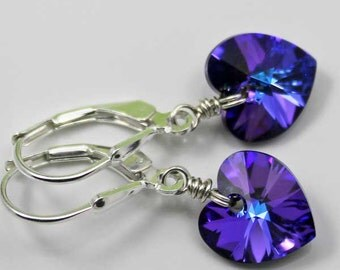 Purple Heart Earrings, Swarovski Heliotrope Heart Earrings, Dangle Crystal Earrings, Silver Heart Earrings, Prom Purple Earrings