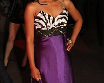 Zebra print and purple satin gown