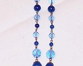 Czech Blue Crystal and Glass Beaded Necklace and Pendant