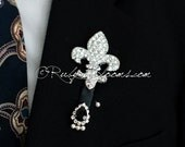 Items Similar To Fleur De Lis Brooch Boutonniere Crystal