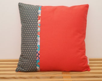 "Housse de coussin, asanoha, ""diamants japonais"" et fleurs / Pillow, cushion cover, asanoha, ""japanese diamonds"" and flowers"