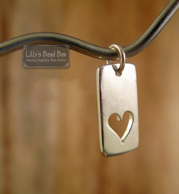 Silver Heart Charm, Sterling Silver Rectangle Tag with Cutout Heart Pendant for Jewelry Making, Charm Bracelet, Charm Necklace (CH 496)