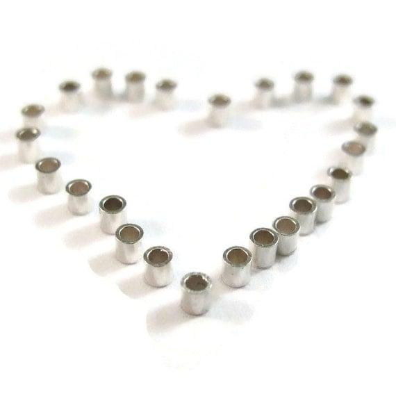 Silver Crimp Beads, 25 Crimp Tubes, Sterling Silver 2mm Crimps, 25 PIeces, 2x2mm Crimping Beads, 925 Silver Findings, Crimper (F-1112s)