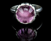 Eco friendly Pink Lab Sapphire Ring, checkerboard cut, high dome, sterling silver, carved edge, bubblegum