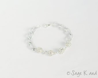 Silver Pave Ball and Chain Bracelet