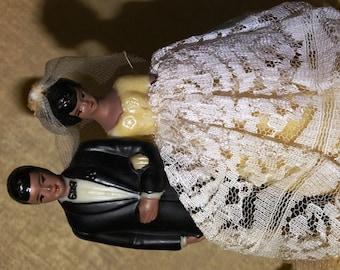 Wedding Black Couple Black Couple Wedding Cake Topper, Black American, Beautiful African American Mid Century Bridal Cake Topper