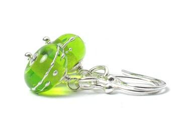 Light Green Earrings | Lampwork Glass and Sterling Silver Earrings | Bright Lime Green Earrings | Greenery Simplicity Earrings