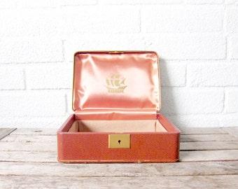 Vintage Mens Valet Box - Farrington Accessory Box - Caramel Tan Texol Jewelry Box - Leatherette Leather Travel Case - Ship Motif Box